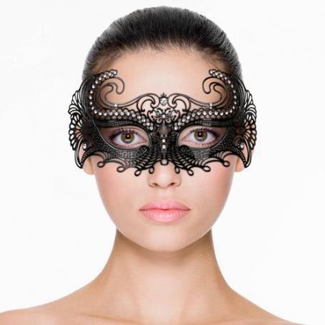Venezianische Maske aus Metall in Schwarz